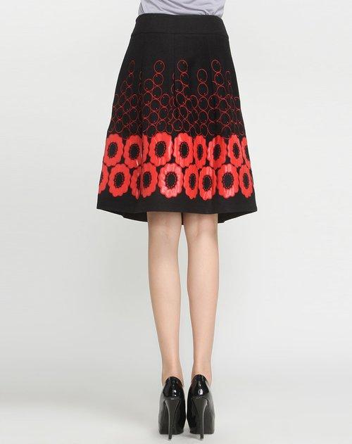 温莎蒂uen shadi女装专场圆圈花朵绣黑底红色中裙