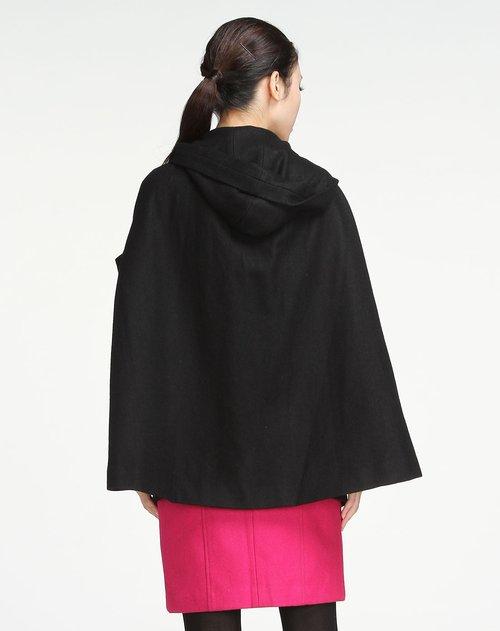 伊cocci女装专场黑色连帽简约斗篷式外套