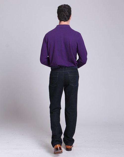 堡马posemer男装专场紫色翻领休闲长袖t恤