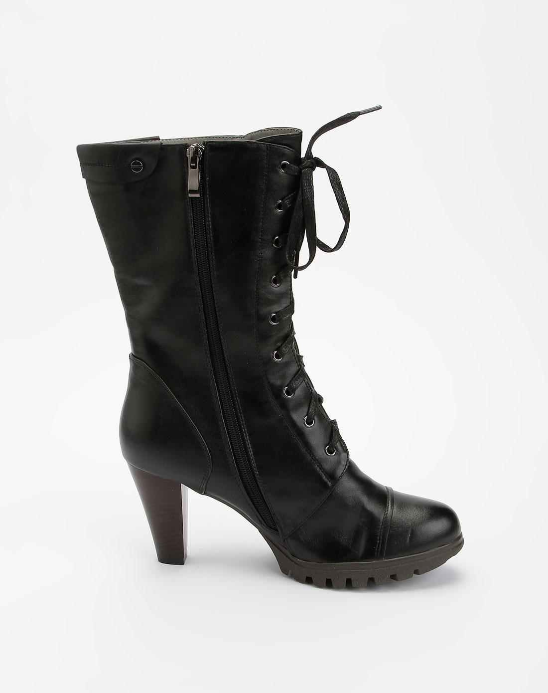 澳伦aolun女鞋专场黑色系带时尚中筒靴