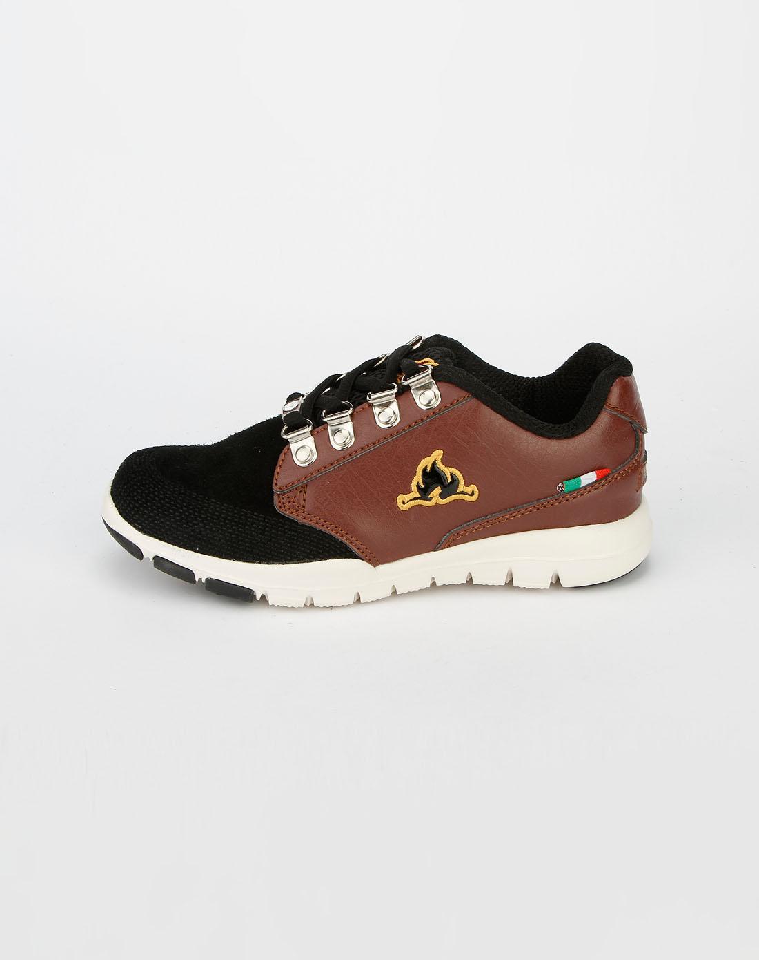 女童鞋男童黑棕运动鞋hp