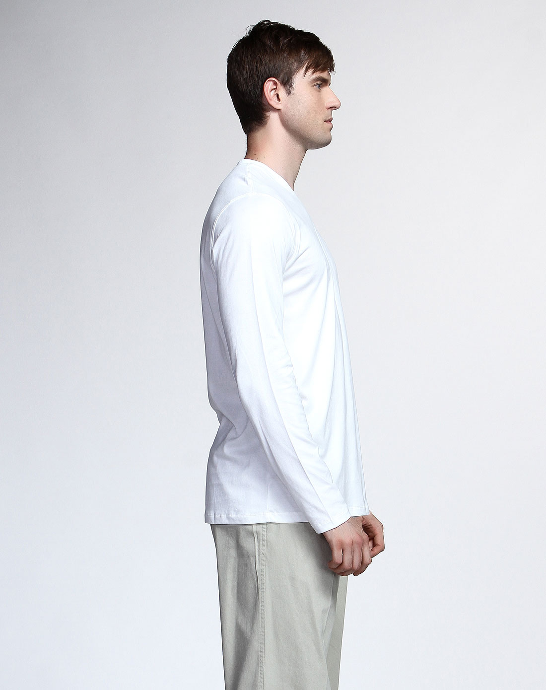 dupont名品专场男款简约大气长袖t恤白色spl
