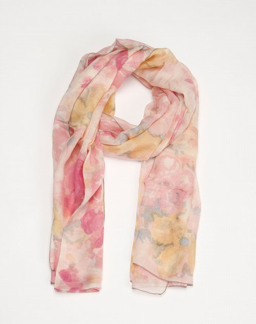女款浅粉色真丝时尚印花围巾