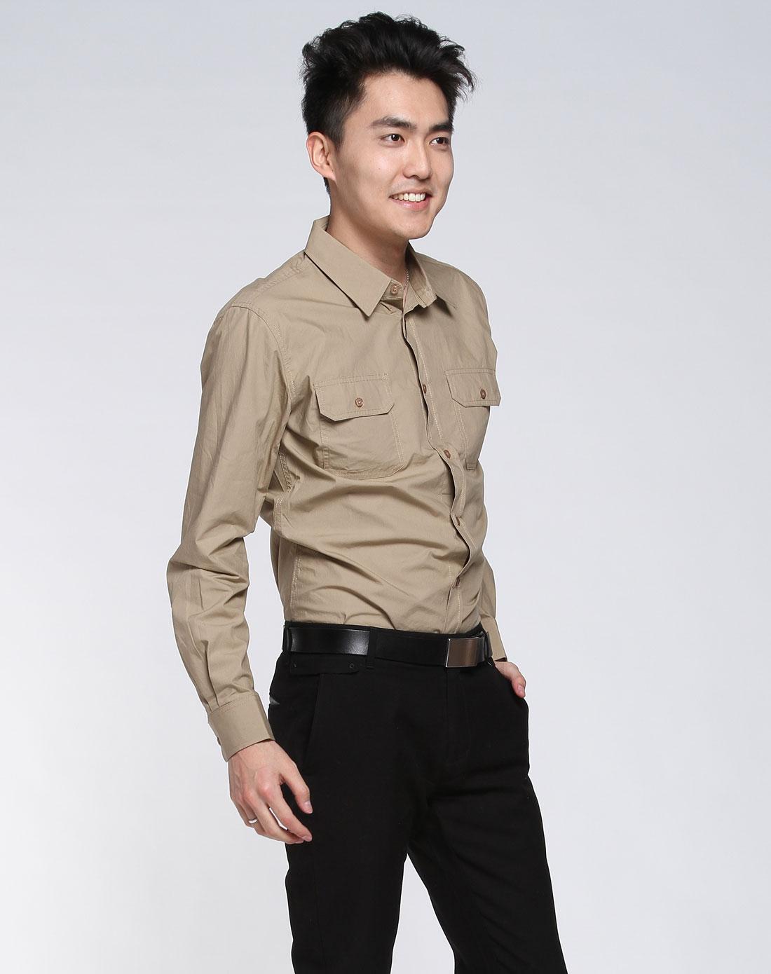 优衣派uip-男款卡其色时尚长袖衬衫