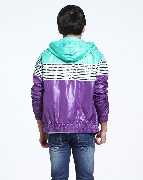 森马男装专场绿紫色拼接连帽长袖外套价格(怎么样)图片