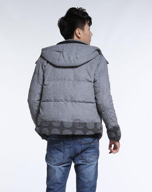 森马男装专场时尚酷感灰色长袖羽绒服图片