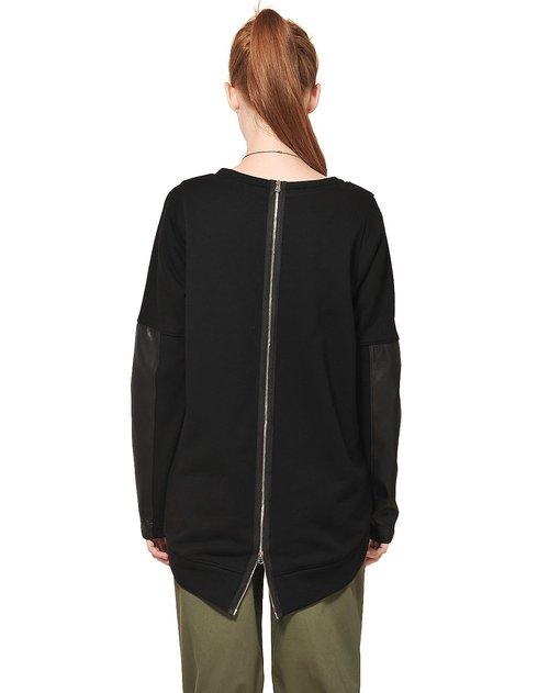 裴梵p.f.mogo女装专场黑色设计款长拉链拼接时尚卫衣