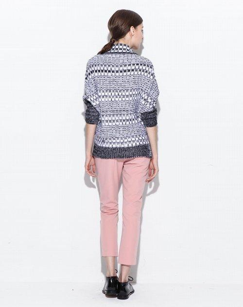 派茉europrimo女装专场黑白长袖镶拼设计感时尚廓形毛衫