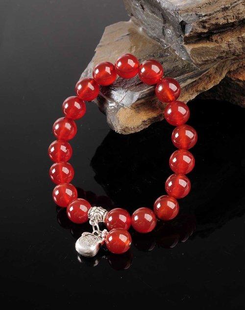 红色红玛瑙钱袋手链