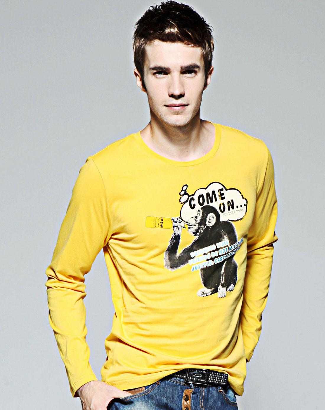 简时尚品justyle_简时尚品justyle 男款黄色圆领纯棉纯棉长袖t恤