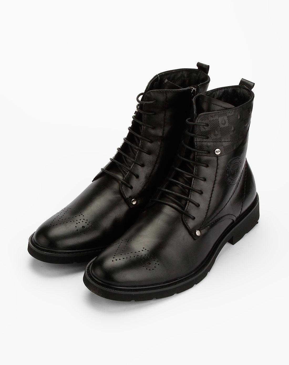 黑色时尚系带皮鞋_欧伦堡olunpo特价