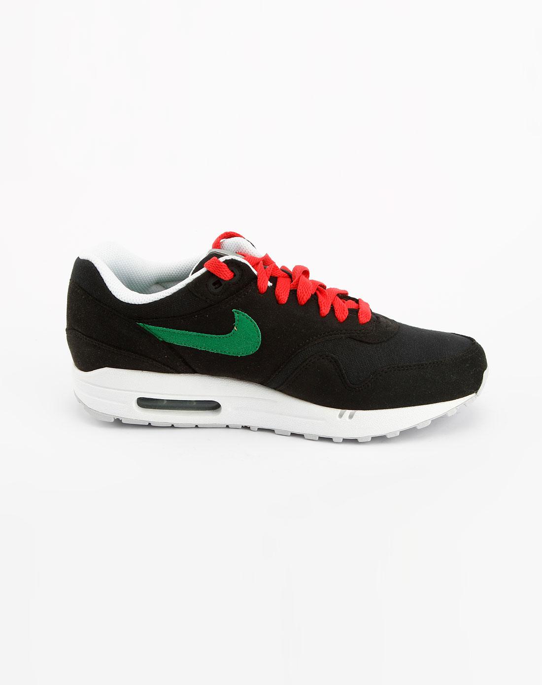 耐克nike黑/绿/白色气垫运动鞋