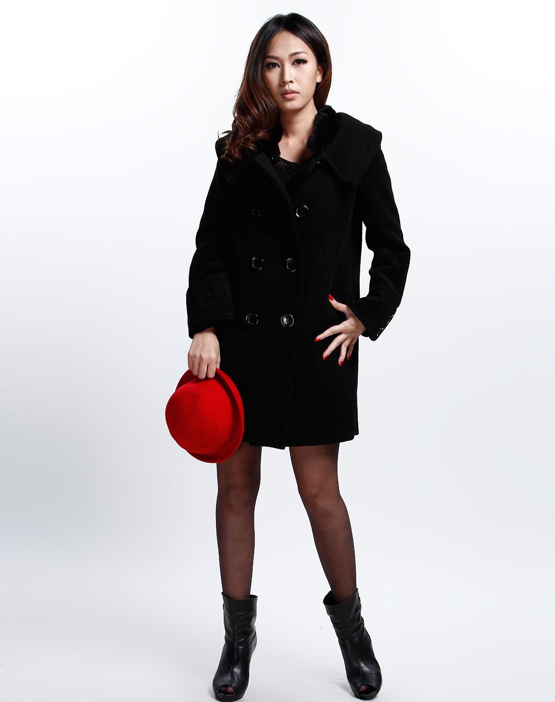 可姿.伊cocci女装专场-黑色时尚长袖大衣