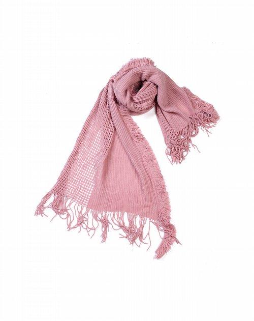 miss apple粉色优雅网格围巾
