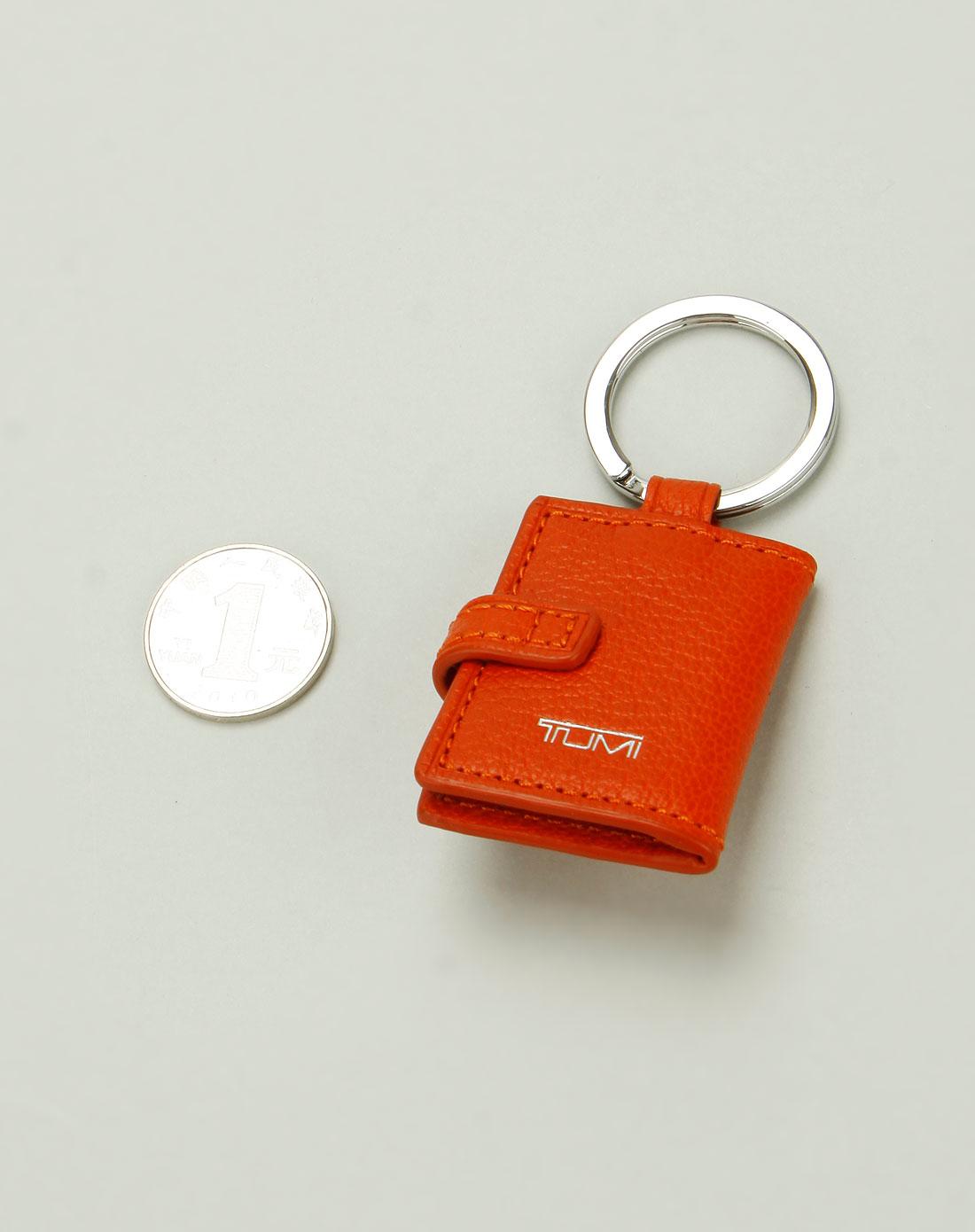 tumi中性橙色可爱书本钥匙扣