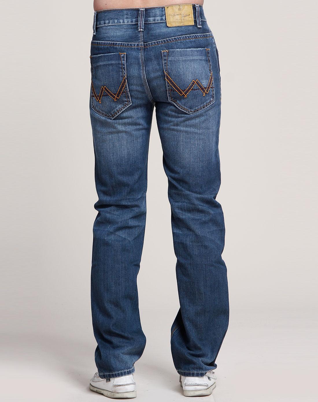 森马-男装牛仔蓝牛仔长裤图片