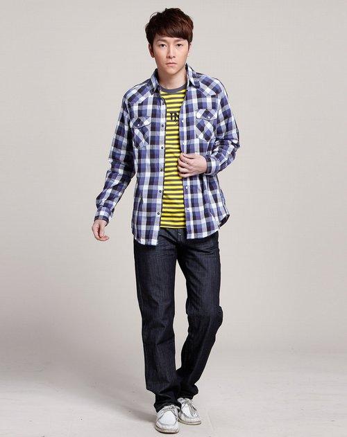 森马男装专场蓝/灰/白色格纹长袖衬衫