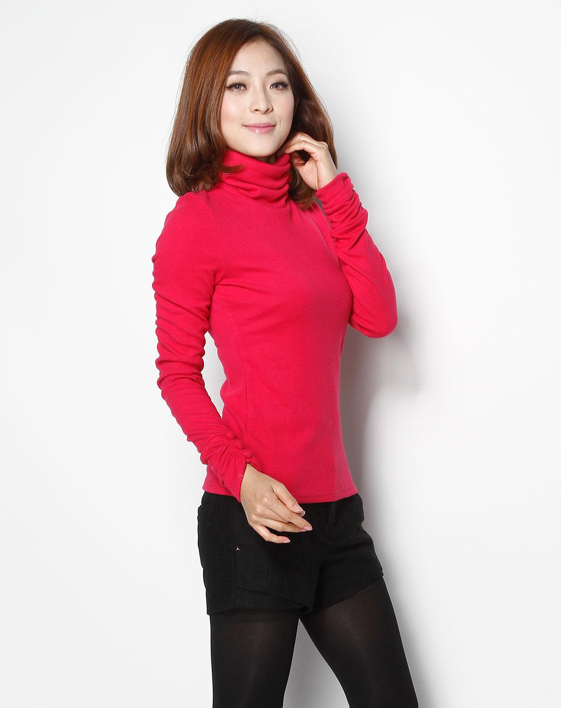 r&d玫红色高领简约长袖针织衫6104207005416