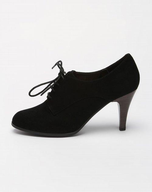 哈森harson女款黑色休闲系带高跟皮鞋图片图片
