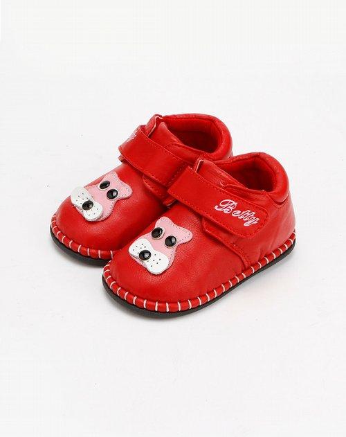 童鞋混合专场女童红色卡通图案皮鞋