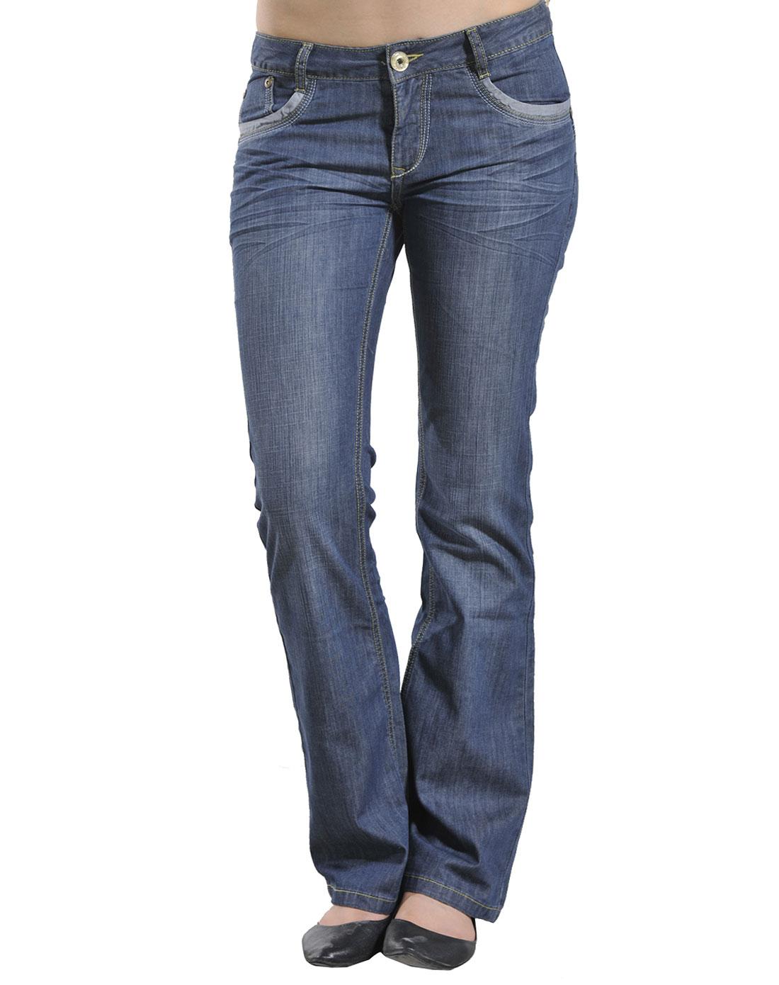 女款深蓝色牛仔裤