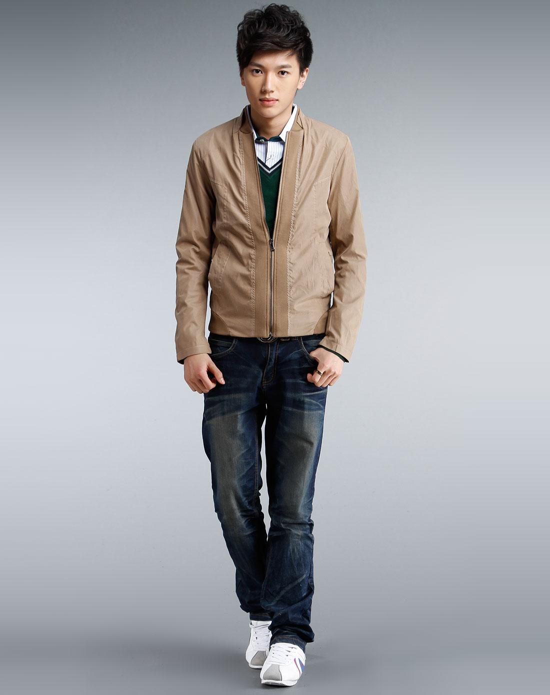 驼色个性拉链长袖夹克