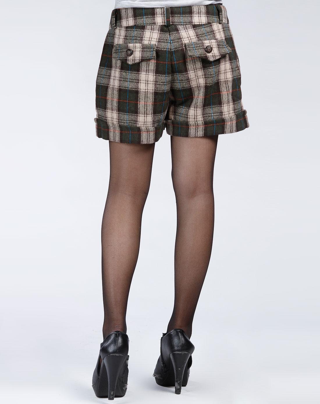 绿/卡其色格子时尚短裤