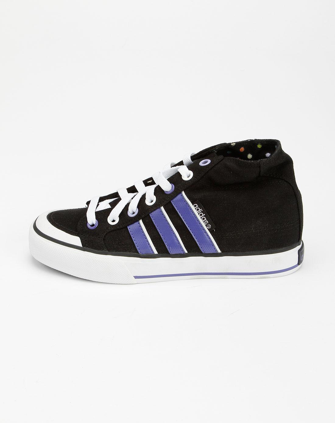 阿迪达斯adidas-neo 女款黑/紫色中帮帆布鞋