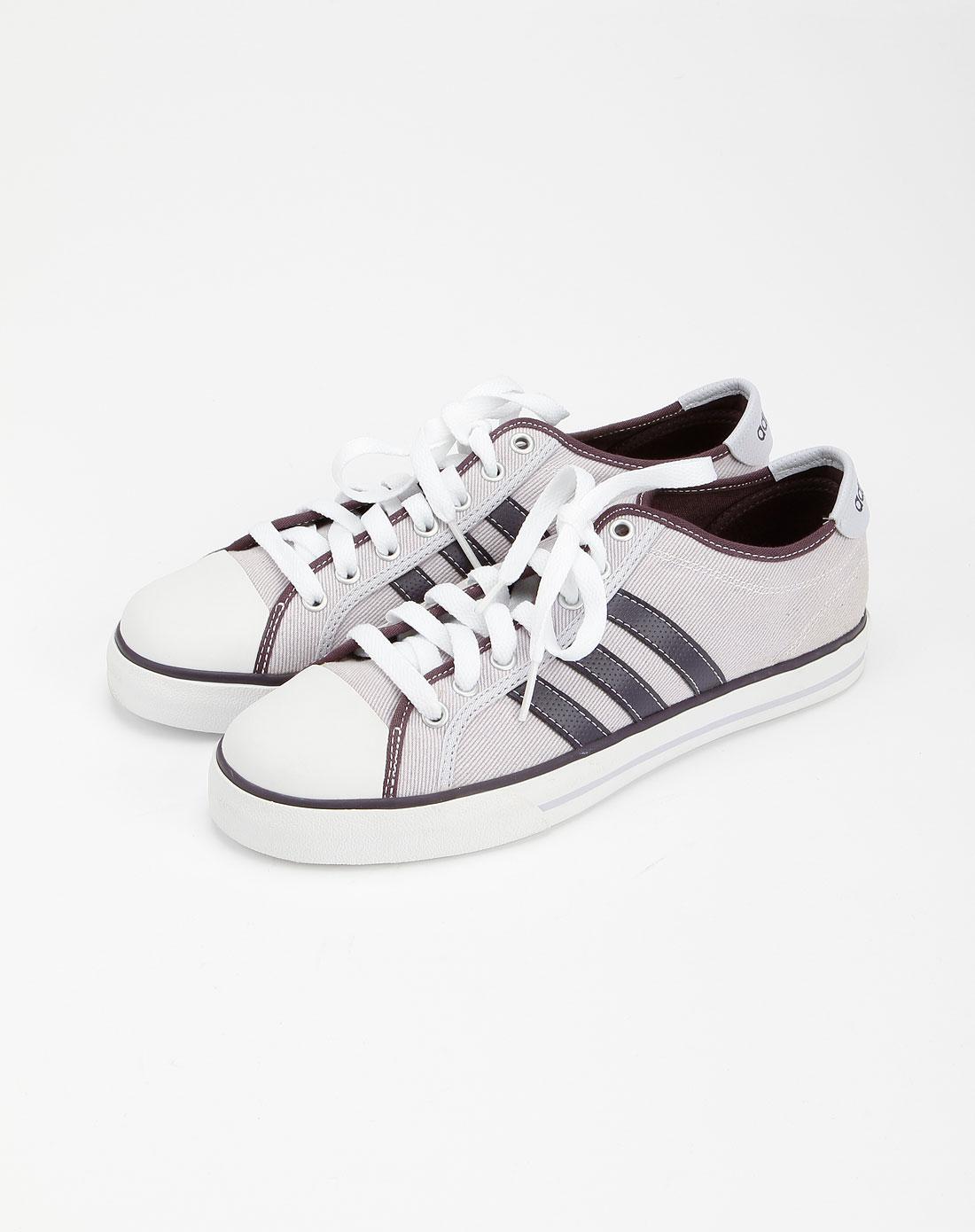 阿迪达斯adidasneo 女款浅灰色帆布鞋g11151