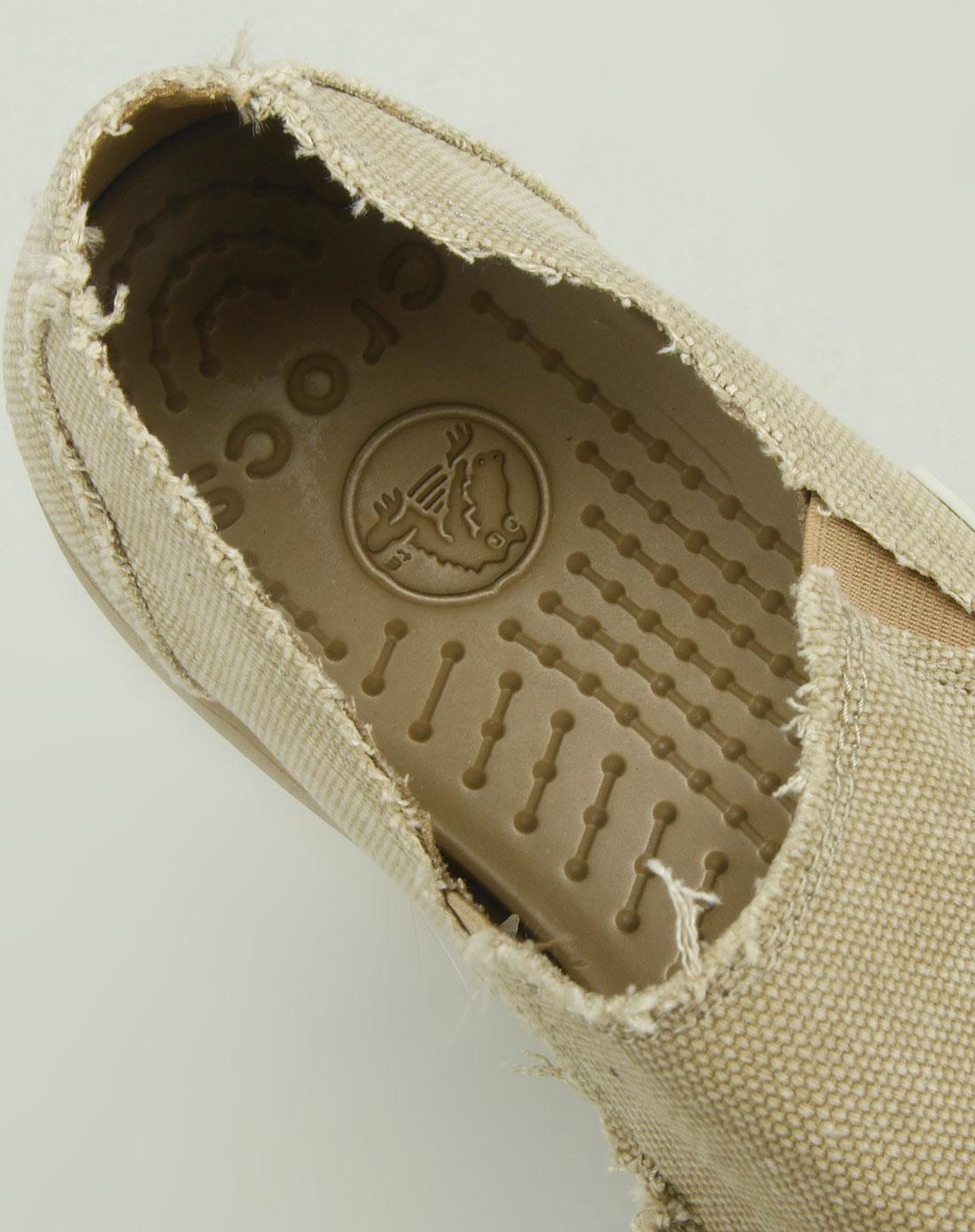 卡路驰crocs男款卡其色帆布鞋