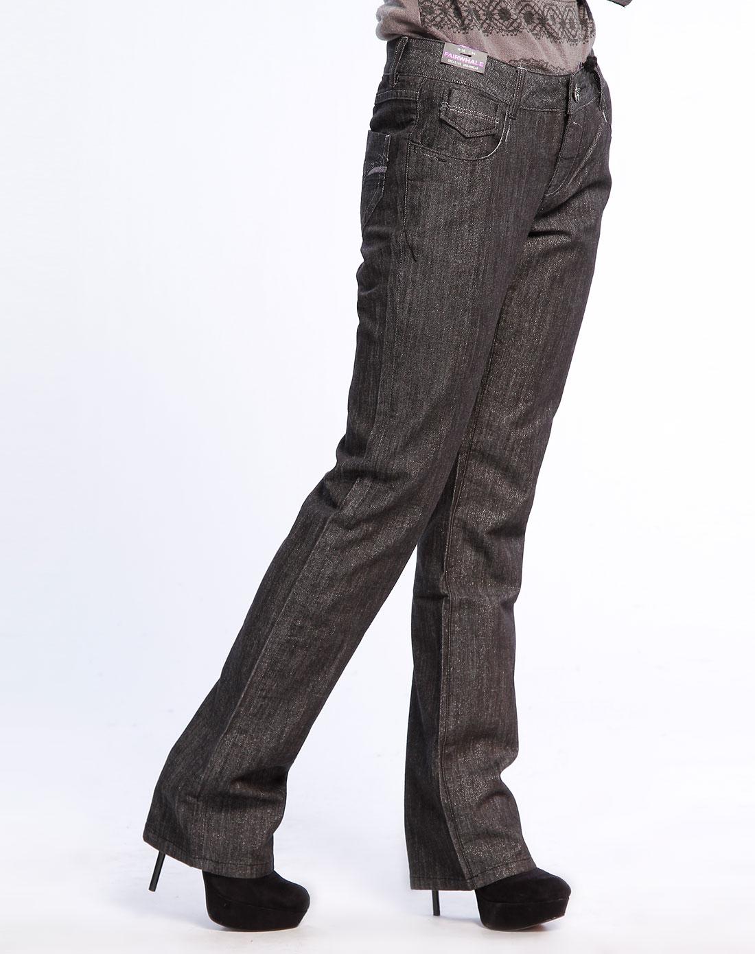 马克华菲银黑色休闲牛仔长裤