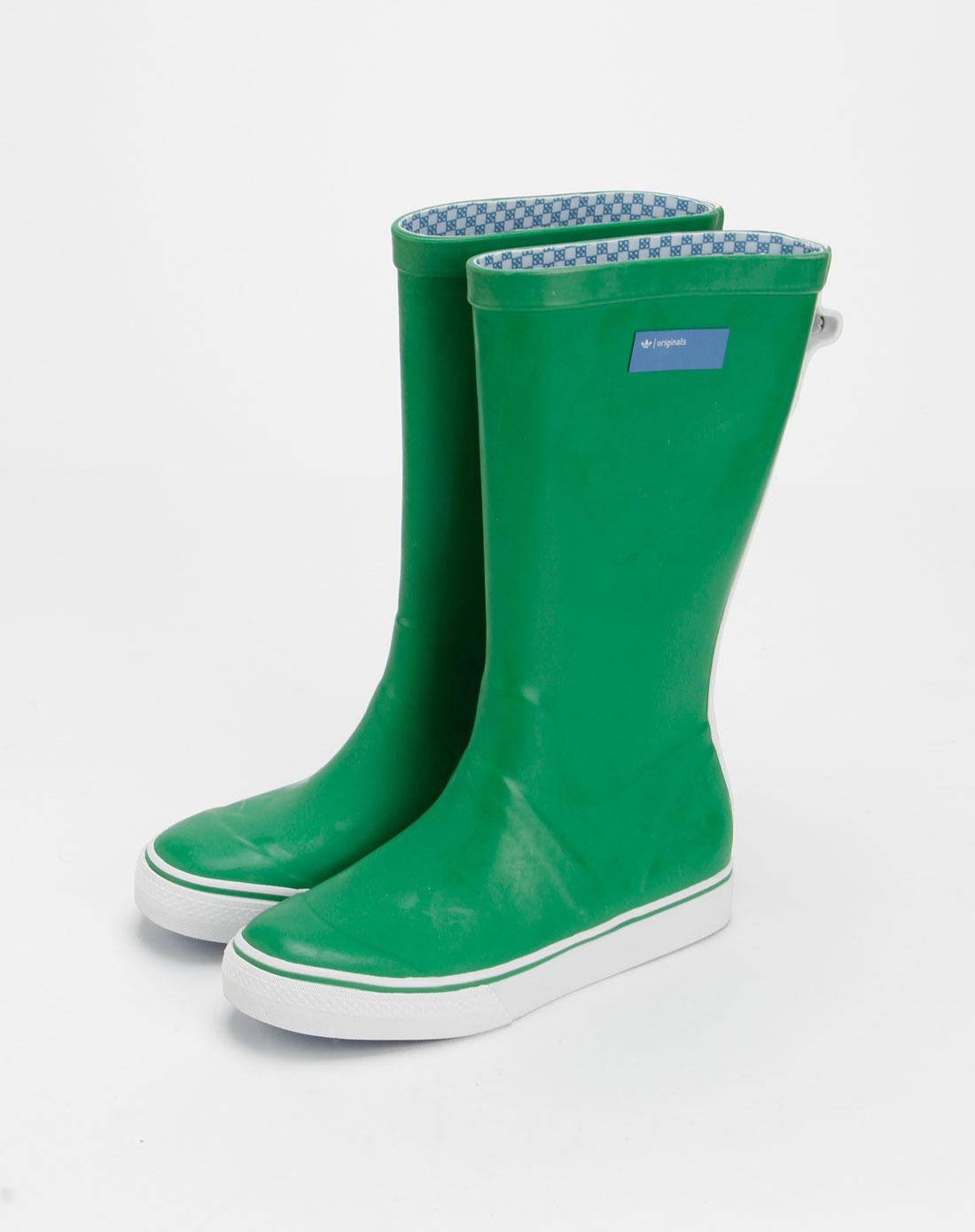 女款绿色休闲中筒雨靴
