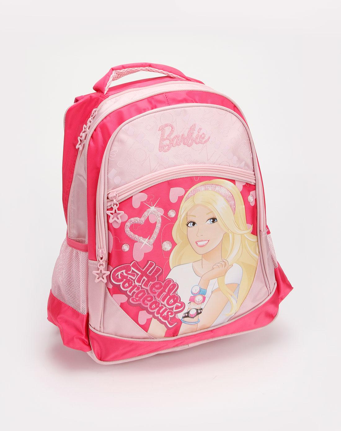 女童玫红/粉色印图时尚书包