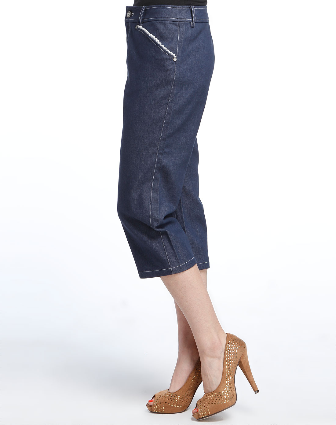 mokuba女款牛仔水洗牛仔七分裤