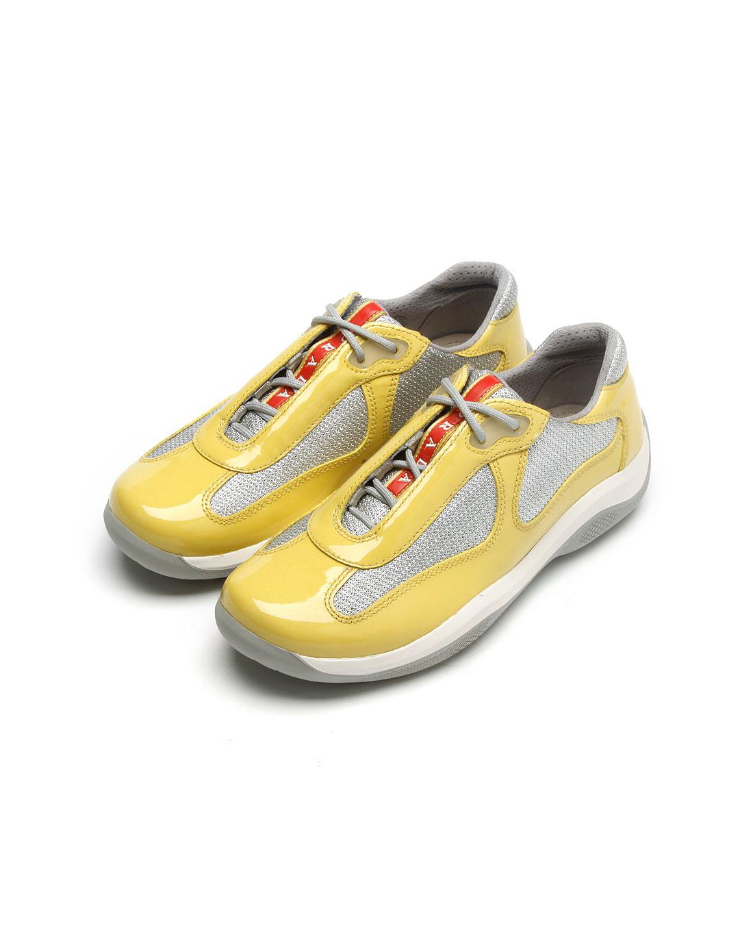 女款亮黄色网布拼皮鞋