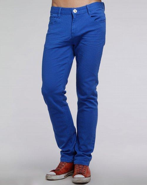 森马-男装海蓝色休闲牛仔长裤图片