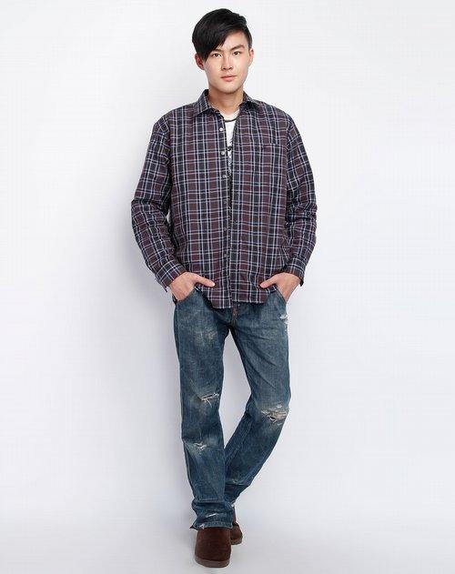 男款啡/蓝色格子保暖长袖衬衣