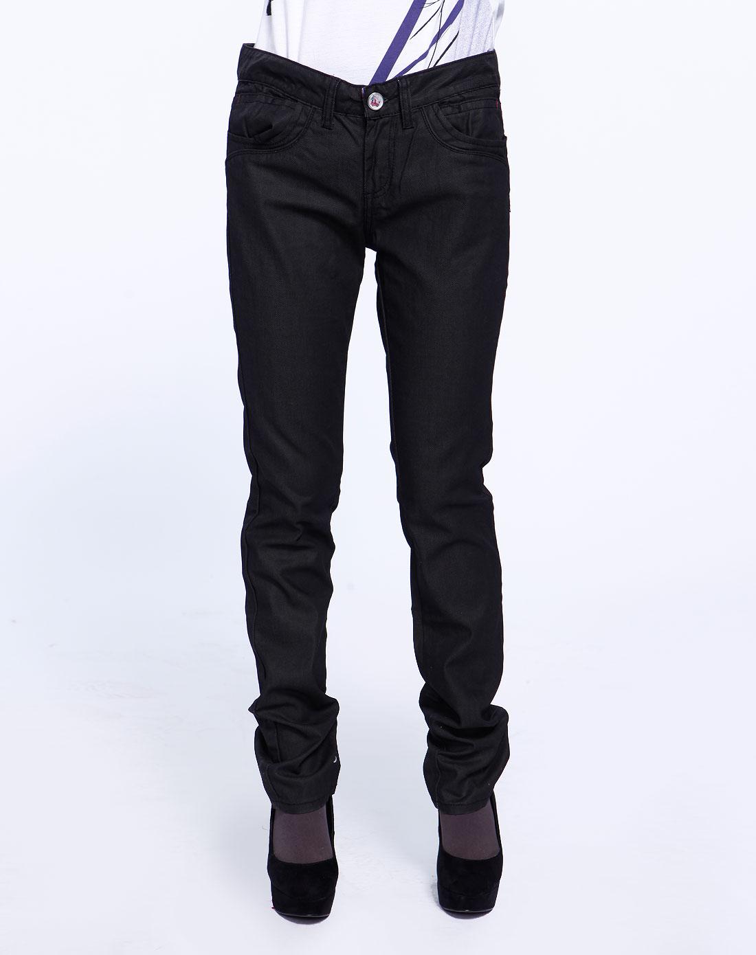 fox女款黑色休闲牛仔长裤