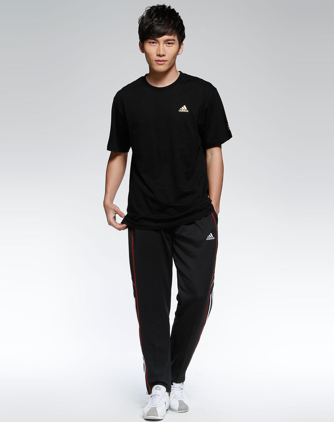 阿迪达斯adidas男装专场-男款黑色短袖运动上衣