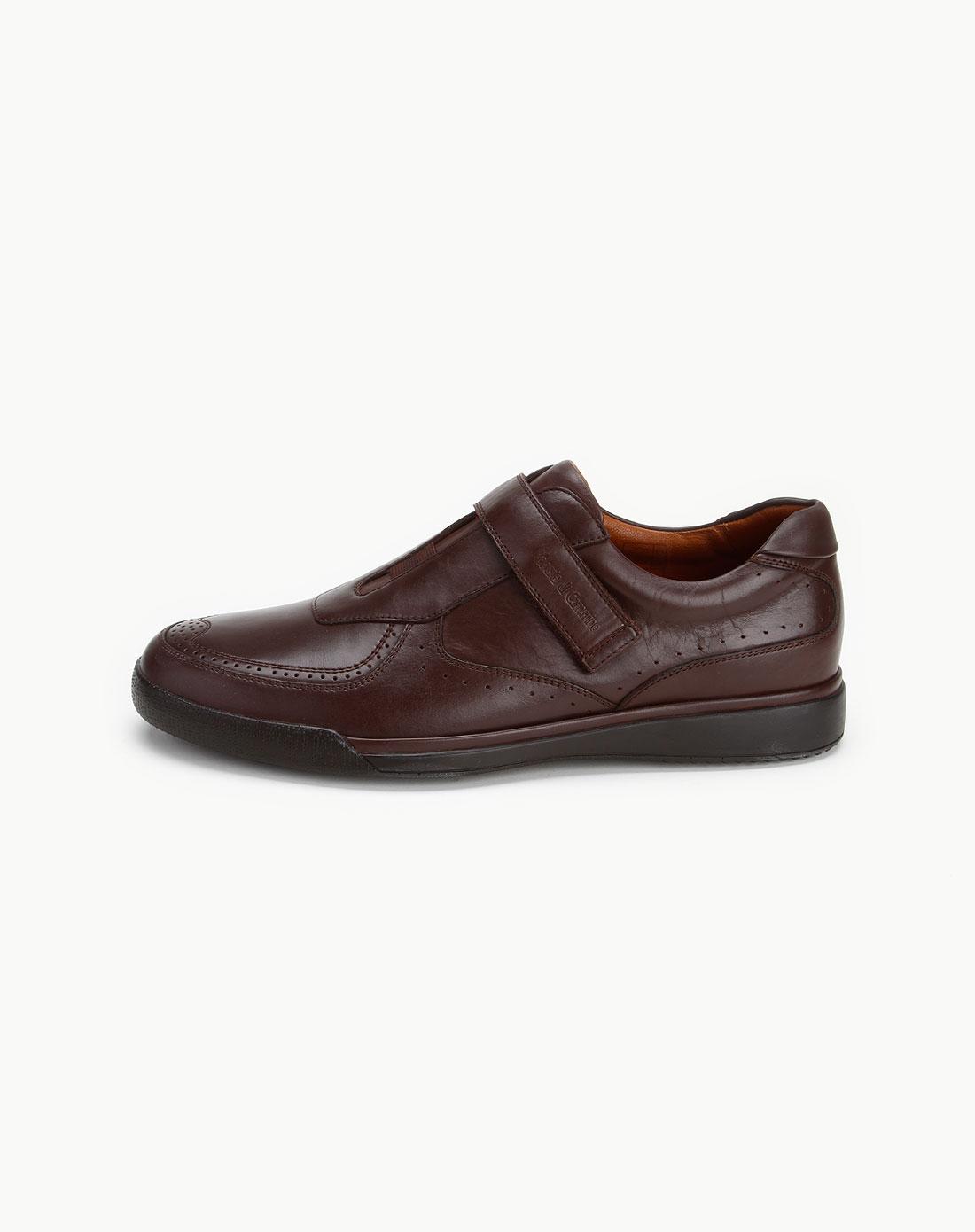 男款棕色时尚休闲皮鞋