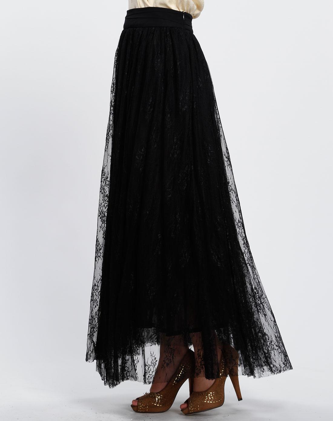黑色蕾丝时尚长裙图片