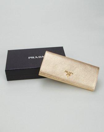 prada包包专场女款金黄色时尚长款钱包1m1132platino