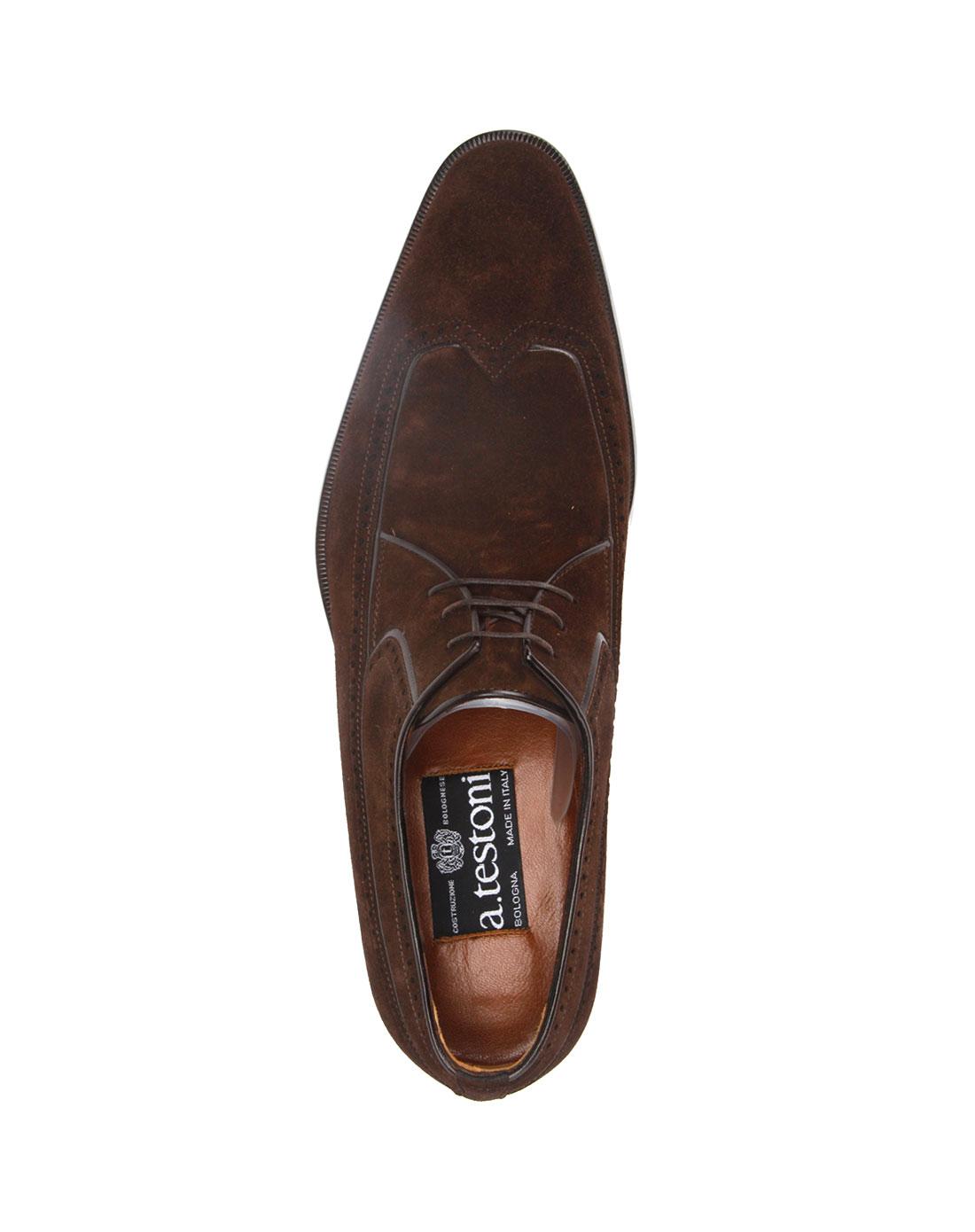testoni男款褐色绒面皮鞋2