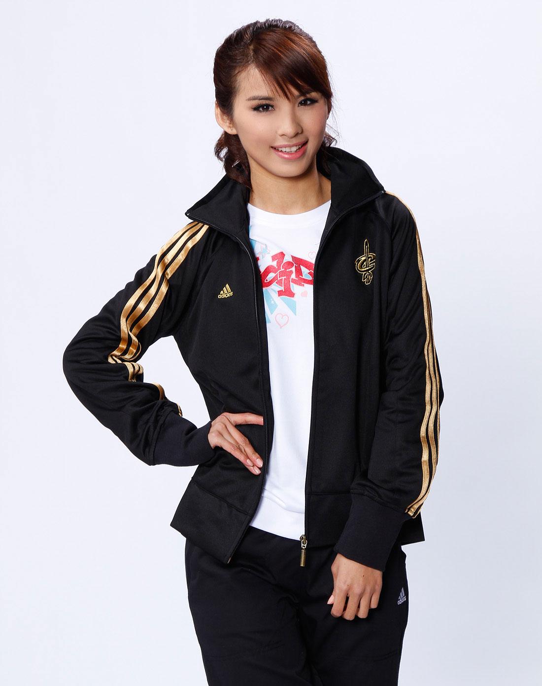 阿迪达斯adidas女款黑色休闲长袖外套4428638