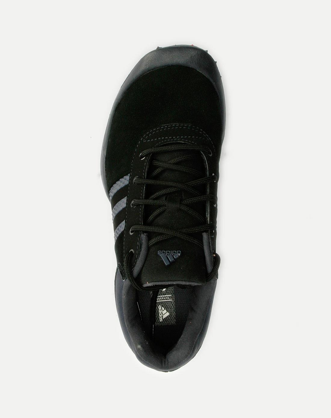 阿迪达斯adidas-女款黑色紫条纹运动鞋