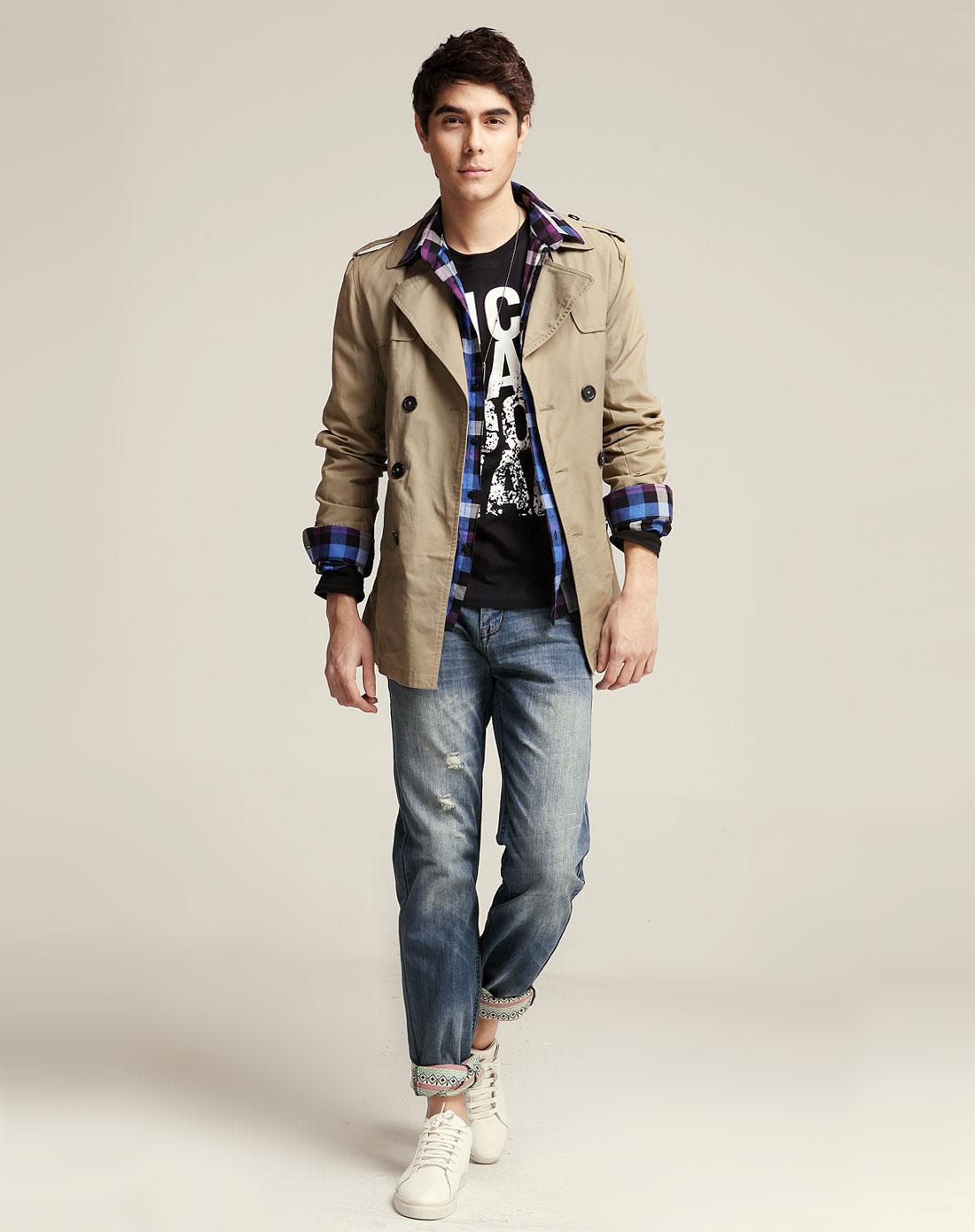 艾夫斯男装卡其色休闲时尚长袖风衣