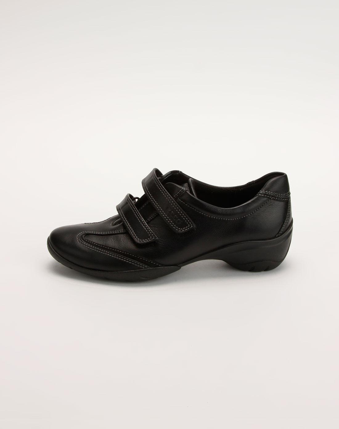 爱步ecco女款黑色魔术贴休闲鞋
