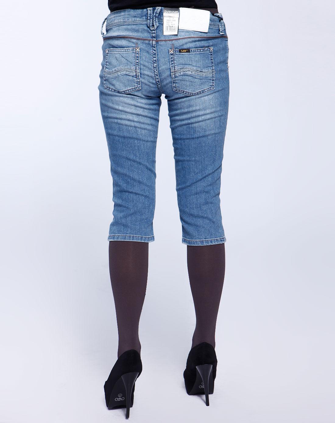 lee女款蓝色低腰五分牛仔裤