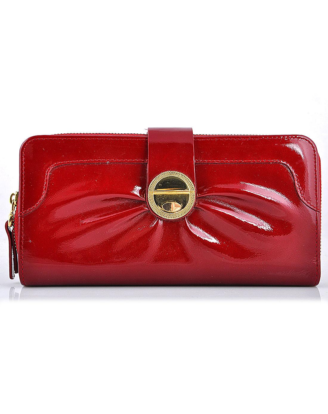意大利鲨鱼 女款红色潮流时尚单拉链包