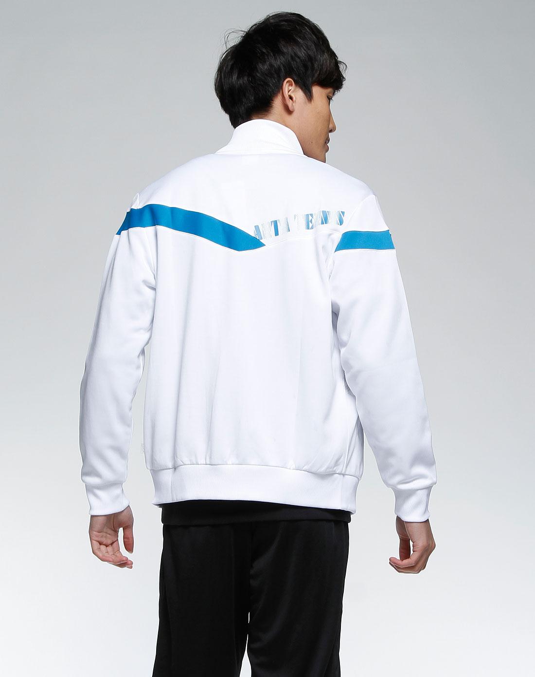 男款白色时尚拉链运动长袖外套